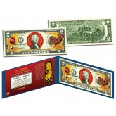 Chinese Zodiac - YEAR OF THE ROOSTER - Colorized $2 Bill U.S. Legal Tender Currency