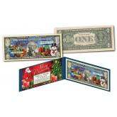 CHRISTMAS XMAS SANTA Dual Overlay * Silver Hologram & Polychrome * Genuine Legal Tender U.S. $1 Bill