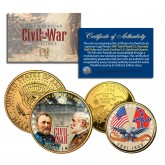 American CIVIL WAR South Carolina Quarter & JFK Half Dollar U.S. 2-Coin Set 24K Gold Plated