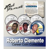 Baseball Legend ROBERTO CLEMENTE Statehood Quarters US Colorized 3-Coin Set - Officially Licensed