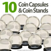 10 Coin Capsules & 10 Coin Stands for PRESIDENTIAL $1 / SACAGAWEA / SBA - Direct Fit Airtight 26mm Holders