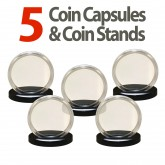 5 Coin Capsules & 5 Coin Stands for  QUARTERS - Direct Fit Airtight 24mm Holders