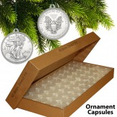 25 Direct Fit Airtight 40.6mm CHRISTMAS ORNAMENT Coin Holders Capsule Holders For SILVER EAGLE Oz