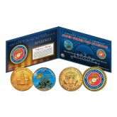 MARINES Armed Forces Coin Collection Genuine Legal Tender JFK Kennedy Half Dollars 2-Coin Set