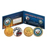 NAVY Armed Forces Coin Collection Genuine Legal Tender JFK Kennedy Half Dollars 2-Coin Set