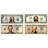 Set of 4 - COLORIZED 2-SIDED U.S. Bills Currency $1 / $2 / $5 / $10 Genuine Legal Tender