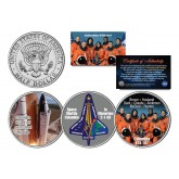 SPACE SHUTTLE COLUMBIA STS-107 - In Memoriam - Colorized JFK Half Dollar U.S. 3-Coin Set - NASA