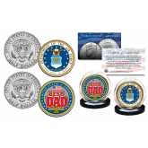 FATHERS DAY 2016 United States Armed Forces Military 2-Coin U.S. JFK Kennedy Half Dollar Set - AIR FORCE