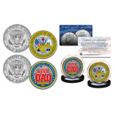FATHERS DAY 2016 United States Armed Forces Military 2-Coin U.S. JFK Kennedy Half Dollar Set - ARMY