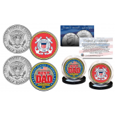 FATHERS DAY 2016 United States Armed Forces Military 2-Coin U.S. JFK Kennedy Half Dollar Set - COAST GUARD