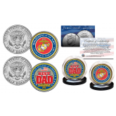 FATHERS DAY 2016 United States Armed Forces Military 2-Coin U.S. JFK Kennedy Half Dollar Set - MARINE