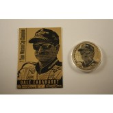 DALE EARNHARDT Card & 24KT Gold Plated 2001 American Silver Eagle Dollar 1 oz US Coin Colorized - Officially Licensed