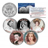 BETTE DAVIS - MOVIES - Colorized JFK Kennedy Half Dollar U.S. 5-Coin Set