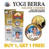 YOGI BERRA Golden Legends 24K Gold Plated State Quarter US Coin - BUY 1 GET 1 FREE - bogo