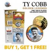 TY COBB Golden Legends 24K Gold Plated State Quarter US Coin - BUY 1 GET 1 FREE - bogo