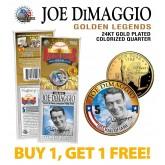 JOE DiMAGGIO Golden Legends 24K Gold Plated State Quarter US Coin - BUY 1 GET 1 FREE - bogo