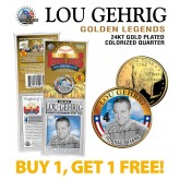 LOU GEHRIG Golden Legends 24K Gold Plated State Quarter US Coin - BUY 1 GET 1 FREE - bogo