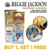REGGIE JACKSON Golden Legends 24K Gold Plated State Quarter US Coin - BUY 1 GET 1 FREE - bogo
