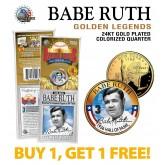 BABE RUTH Golden Legends 24K Gold Plated State Quarter US Coin - BUY 1 GET 1 FREE - bogo