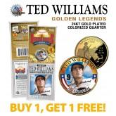 TED WILLIAMS Golden Legends 24K Gold Plated State Quarter US Coin - BUY 1 GET 1 FREE - bogo