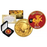 2018 Chinese New Year * YEAR OF THE DOG * 24 Karat Gold Plated $50 American Gold Buffalo Indian Tribute Coin with DELUXE BOX