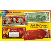 2018 Chinese New Year * YEAR OF THE DOG * POLYCHROMATIC 8 COLORIZED DOG'S Genuine Legal Tender U.S. $2 BILL - $2 Lucky Money with Red Envelope
