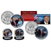 Donald Trump Presidential Official Inauguration 2-Coin JFK Half Dollar Set featuring images from January 20, 2017