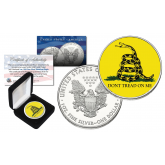 "GADSDEN FLAG "" Don't Tread On Me "" Colorized 1 oz. PURE SILVER AMERICAN U.S. EAGLE in Deluxe Black Felt Coin Display Gift Box"