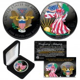 Dual BLACK RUTHENIUM COLORIZED 2-Sided 1 Troy Oz. 2019 Silver Eagle U.S. Coin with Deluxe Felt Display Box