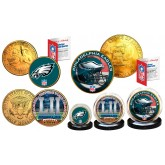Super Bowl 52 LII NFL Champions Philadelphia Eagles 24K Gold Plated 3-Coin US Set - Phildaelphia Freedom Coins