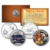 DALE EARNHARDT - 7-Time NASCAR Champ & GM Goodwrench - North Carolina & Florida Quarters U.S. 2-Coin Set - Officially Licensed