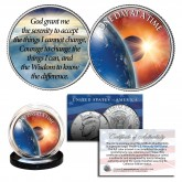 ONE DAY AT A TIME Universe Sun, Moon & Earth Serenity Prayer Genuine 2-Sided JFK Kennedy Half Dollar U.S. Holy Spirit Coin