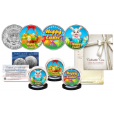 HAPPY EASTER Bunny / Eggs / Holiday JFK Kennedy Half Dollars U.S. 3-Coin Set with COA