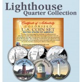 Historic American - LIGHTHOUSES - Colorized US Statehood Quarters 3-Coin Set #2 - Sands Point (NY) Baltimore Harbor (MD) Cape May (NJ).