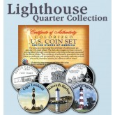 Historic American - LIGHTHOUSES - Colorized US Statehood Quarters 3-Coin Set #3 - Cape Lookout (NC) Portsmouth Harbor (NH) Assateague (VA)