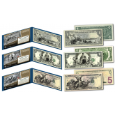 EDUCATIONAL SERIES 1896 Designed NEW U.S. Bills - Genuine Legal Tender Modern U.S. $1, $2, & $5 Banknotes - Set of All 3