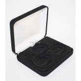 Lot of 5 Black Felt COIN DISPLAY GIFT METAL BOX holds 3-IKE or Silver Eagle SQUARE