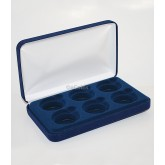 Blue Felt COIN DISPLAY GIFT METAL PLUSH BOX holds 6-IKE or Silver Eagle ASE