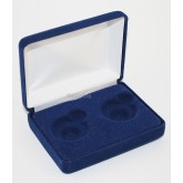 Blue Felt COIN DISPLAY GIFT METAL BOX holds 2-Quarters or Presidential $1 Dollar or Sacagawea Dollars
