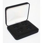 Black Felt COIN DISPLAY GIFT METAL PLUSH BOX holds 4-Quarters or Presidential $1 or Sacagawea Dollars