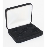 Black Felt COIN DISPLAY GIFT METAL PLUSH BOX holds 5-Quarters or Presidential $1 or Sacagawea Dollars