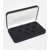 Black Felt COIN DISPLAY GIFT METAL PLUSH BOX holds 9-Quarters or Presidential $1 or Sacagawea Dollars