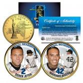 DEREK JETER & MARIANO RIVERA Final Season 2-Coin Set 24K Gold Plated New York Quarters