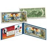 Chinese FIVE ELEMENTS Colorized $2 Bill U.S. Legal Tender Currency - Wu Xing - Yin Yang