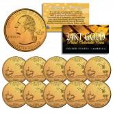 2004 Florida State Quarters U.S. Mint BU Coins 24K GOLD PLATED (Quantity 10)