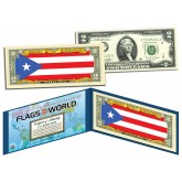 PUERTO RICO - Official Flags of the World Genuine Legal Tender U.S. $2 Two-Dollar Bill Currency Bank Note