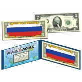 RUSSIA - Official Flags of the World Genuine Legal Tender U.S. $2 Two-Dollar Bill Currency Bank Note