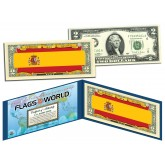 SPAIN - Official Flags of the World Genuine Legal Tender U.S. $2 Two-Dollar Bill Currency Bank Note