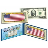 UNITED STATES USA - Official Flags of the World Genuine Legal Tender U.S. $2 Two-Dollar Bill Currency Bank Note