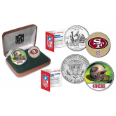 SAN FRANCISCO 49ERS - NFL 2-COIN SET State Quarter & JFK Half Dollar in Exclusive Football Pigskin Display Box OFFICIALLY LICENSED